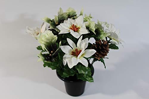 UK-Gardens Christmas Poinsettia Cone Artificial Silk Flower Arrangement Memorial Grave Pot Plant 2 Cols Red and White (WHITE)