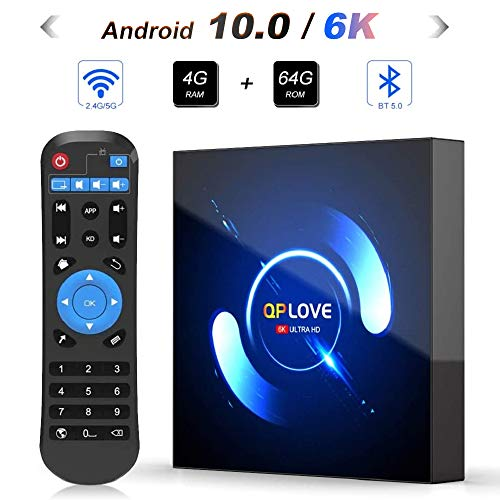 OKEU Android 10.0 TV Box 【4GB RAM+64GB ROM】QPLOVE Q6 TV Box H616 Quad-Core 64bit Cortex-A53 con 5GHz / 2.4GHz WiFi ,BT 5.0,6K UHD H.265 Smart TV Box