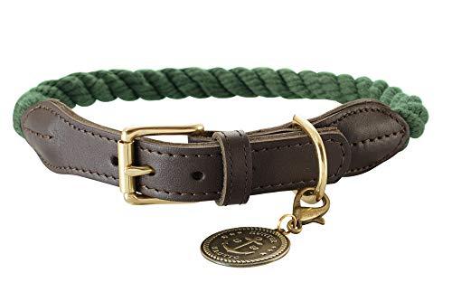 HUNTER List Hundehalsband, Tau, Leder, maritim, strapazierfähig, wetterfest, geschmeidig, 50 (S-M), oliv