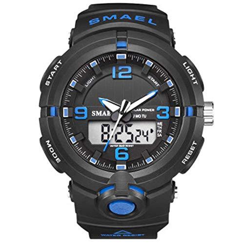 Hombres Mujeres reloj del deporte, 50M impermeable reloj deportivo digital analógico, multifunción hora dual Pantalla Casual Male cronógrafo de cuarzo reloj de pulsera con correa de negocios jianyou