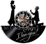 Cásate conmigo Reloj de pared Frases románticas de amor Decoración Boda Matrimonio Historia de amor Día de San Valentín Amor Relojes de discos de vinilo Regalos para ella Relojes de pared de vinilo
