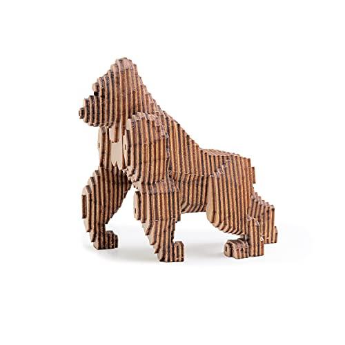 MINICHICK Holzmodell zum Zusammenbauen. 3D-Puzzle für Jugendliche und Kinder. Ein Holzmodell. Hergestellt in Europa. Ohne Leim. Entdecken Sie die 6 Modelle der Konstrukteure. (Gorilla)