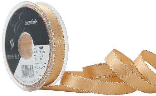 Berisfords Festive bord doré ruban satin 15 mm large-blanc-par mètre
