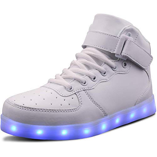 WONZOM LED Light Up Shoes USB Flashing Sneakers for Toddler/Kids Boots-32(White)