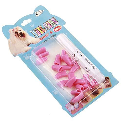 Mothcattl Katzenspielzeug, 20 Kratzfeste Krallenkappen für Katzen und Katzen, Set mit 20 Kapseln zum Versenden von Kleber (Farbverpackung), Pink, XS