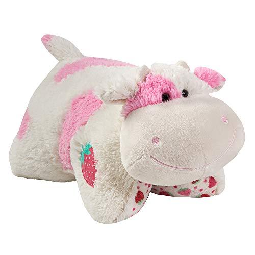 "Pillow Pets 30"" Jumboz Sweet Scented Strawberry Milkshake Cow Stuffed Animal Plush Toy, Multicolor (04426009B)"