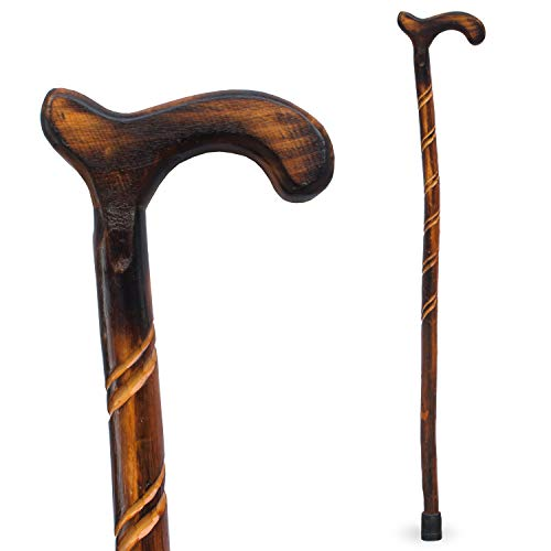 RMS Wood Cane - 36 Inches Natural Wood Walking Stick - Handcrafted Wooden Offset Cane for Men or Women (Spiral)