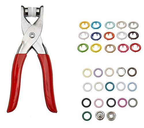 RENCALO 310 stücke 31 Farben 9,5mm Zangen Werkzeug Metallknöpfe Prong Snap Fastener Press Studs + Zange Kit -Plier + Druckknöpfe