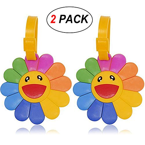 Coolrunner 2pcs Luggage Suitcase Tags Labels ID Tags Business Card Holder (Sun Flower)