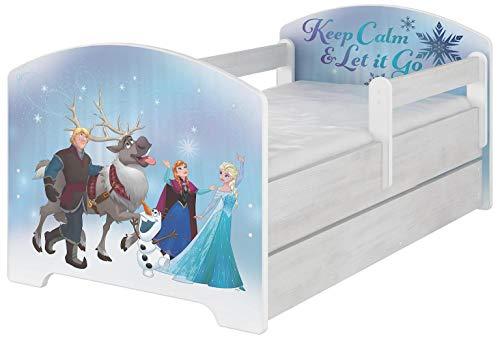 Cama infantil original de Disney con protección anticaídas, cajón y colchón (80 x 160, Frozen)