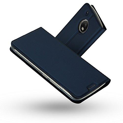 RADOO Moto G5 Lederhülle, Premium PU Leder Handyhülle Brieftasche-Stil Magnetisch Folio Flip Klapphülle Etui Brieftasche Hülle Schutzhülle Tasche Hülle Cover für Motorola Lenovo Moto G5 (Blau)