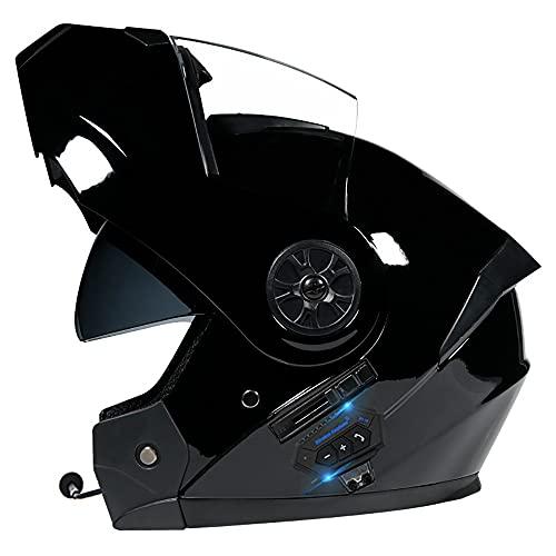 NAINAIWANG Bluetooth Integrado Casco de Moto Modular ECE Homologado con Doble Visera Intercomunicación Sistema de Comuni Cascos De Motocicleta Adultos Unisex para Respuesta Automática