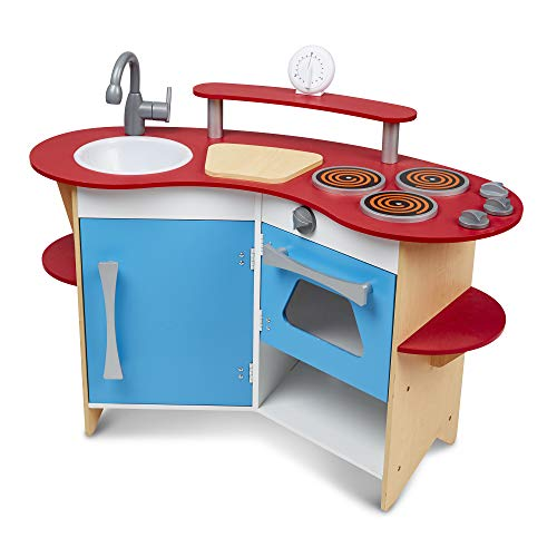 Melissa & Doug Cook's Corner Wooden Pretend Play Toy Kitchen (Great Gift for Girls and Boys -...