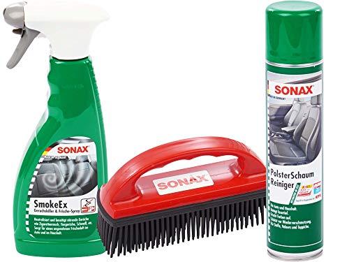 SONAX-SET mit 1 x Sonax Spezialbürste zur Entfernung von Tierhaaren + 1 x Sonax Smoke Ex Geruchskiller und Frischespray, 500ml + 1 x Sonax Polsterschaumreiniger, 400ml