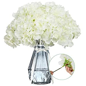 Ozera Pack of 12 Artificial Flowers Hydrangea Silk Flowers, No Fade White Faux Flowers Heads with Stems for Home Decor Party Wedding Birthday Arch Bouquets Decoration