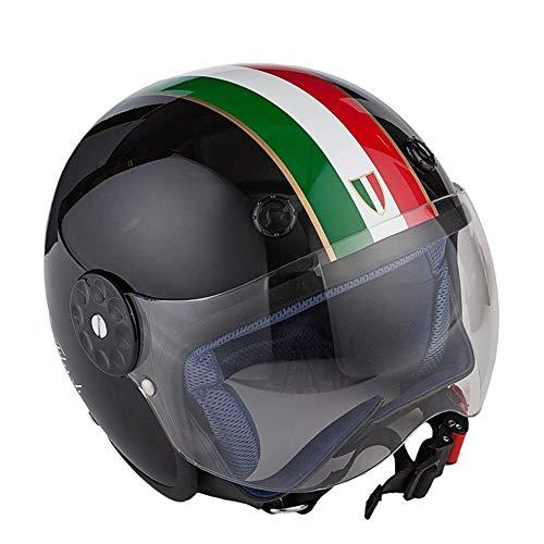 El casco de motocicleta Halley de medio casco para niños jóvenes de fibra de vidrio DOT Copiloto Casco de ciclismo de primavera y verano para scooters incluye un forro de mayor tamaño (gratis),S