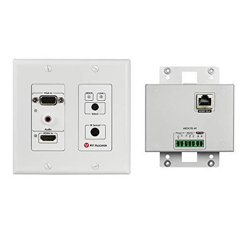 AV Access Wall Plate Faceplate HDMI VGA 4K HDBaseT Transmitter, 2 Port, Single RJ45 Cat5e/6/7, Aux (3.5mm) Input, Two-way IR+RS232+HDCP2.2+EDID, 2 Gang, 40M 4K60Hz,70M 1080P, Work POE Receiver