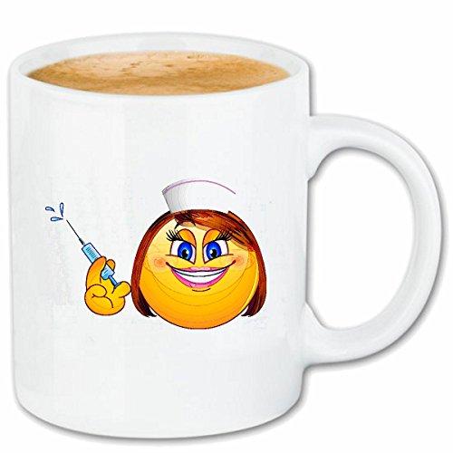 Reifen-Markt Kaffeetasse Smiley Dame ALS Krankenschwester MIT SPRITZE Smileys Smilies Android iPhone Emoticons IOS GRINSEGESICHT Emoticon APP Keramik 330 ml in We