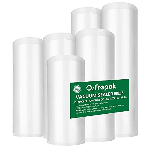 O2frepak 6 Rollos 15x600cm(1) y20x600cm(3) y28x600cm(2) Rollo Bolsas Envasar al Vaci Vacio Alimentos Bolsas de Vacío de Alimentos,Bolsas para Envasar al Vacío Envasado al Vacío para Alimentos Sin BPA
