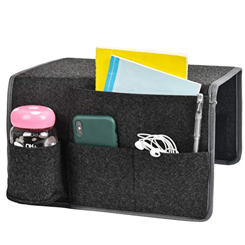 Bedside Storage Organiser Felt Bedside Pocket, Sofa Bedside Storage Bag with Water Bottle Holder for Home Bed Rails, Sofa, Sorting Magazine, iPad, Earphone, Remote, Glasses, Pen (Black)