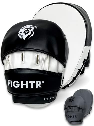 FIGHTR® Manoplas de Boxeo para Artes Marciales (Incluye Bolsa de Transporte), Color Blanco y Negro