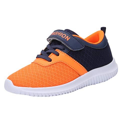 Dorical Kinder Mädchen Sportschuhe Schuhe Mesh Atmungsaktiv Laufschuhe Outdoor Sport Sneaker Turnschuhe Klettverschluss Wanderschuhe Bequem Hallenschuhe für Jungen 28-39(Orange,33 EU)