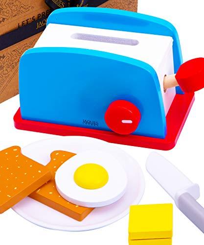 Jaques of London Frühstücksspielzeug mit Küchenzubehör - Hochwertiges Holzspielzeug-Nahrungsset - Perfektes Küchenzubehör Spielzeug für Kleinkinder und Kinder seit 1795