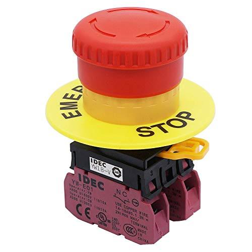 Taiss / 22mm 2 NC Roter Pilz-Verriegelungs-Not-Aus-Druckschalter 10A 600V (Garantie 3 Jahre) YW1B-V4E02R