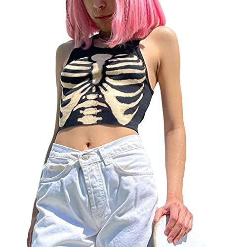 Carolilly Y2k Top Damen Cami Crop Tops Damen Bauchfreie Oberteile Damen Cami Top Y2K Fashion Top Tank Top Slim Fit Camisole Damen Streetwear (Stil P, S)