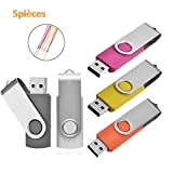 Lot de 5 Clé USB 16 Go Mémoire Stick Flash Drive Clef USB 2.0 Pivotant Stockage U...