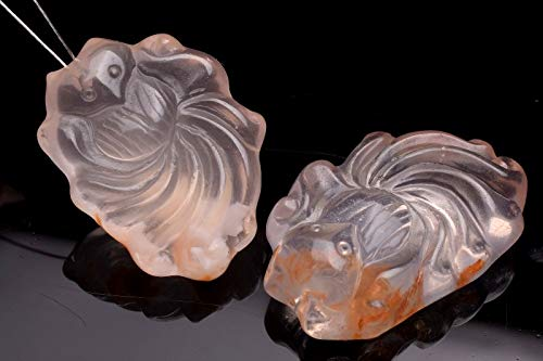 【 福縁閣 】セリサイトインクォーツ 25-29x19-21mm 九尾彫刻 ペンダントトップ_PR3088-3 天然石 パワーストーン ビーズ