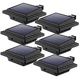LED Solar Dachrinnenleuchte, KEENZO Solarlampen für Außen, 25LEDs Solarlicht, Auto ON/OFF, Schwarz,Warmes Weiß Licht (6er set)