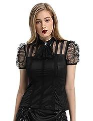 SCARLET DARKNESS Women's Victorian Lace Steampunk Shirt Blouse with Jabot Neckline Black Size XL #1
