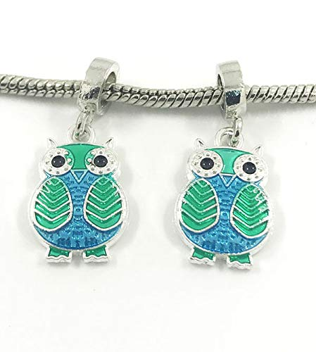 Fashion 2pcs Owl Silver European Charm Spacer Beads Fit Necklace Bracelet NEW pretty good decoration designer talisman stylish charming trendy styling fashion
