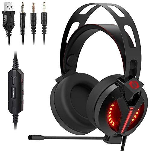 MZZYP Rojo LED Over-Ear Sound Sound Gaming Auriculares Cancelación de Ruido Micrófono para PC, Xbox One, para PS4, Interruptor Nintendo, Mac, Escritorio, Laptop, Computadora, VR, Android, iOS