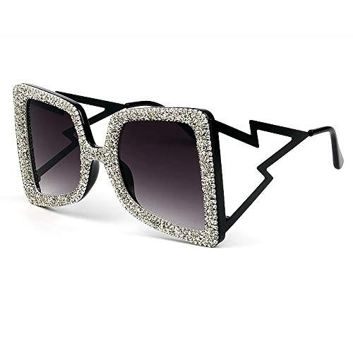 Moda Gafas De Sol De Gran Tamaño para Mujer, Grandes Y Anchas, Temple Bling Stones, Gafas De Moda Uv400, Gafas De Marca Vintage, Blacksilver