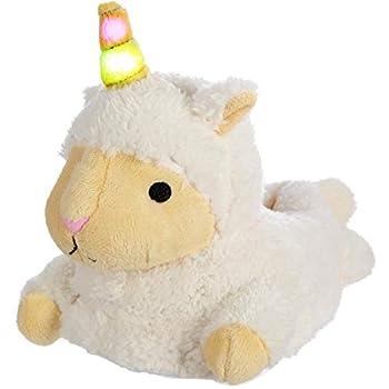 Girls Unicorn Llamacorn Plush Slippers with Light Up LED Horn Llama Alpaca Sheep Lamb Unicorn Mix Slippers for Women and Girls with Light Up LED Horn