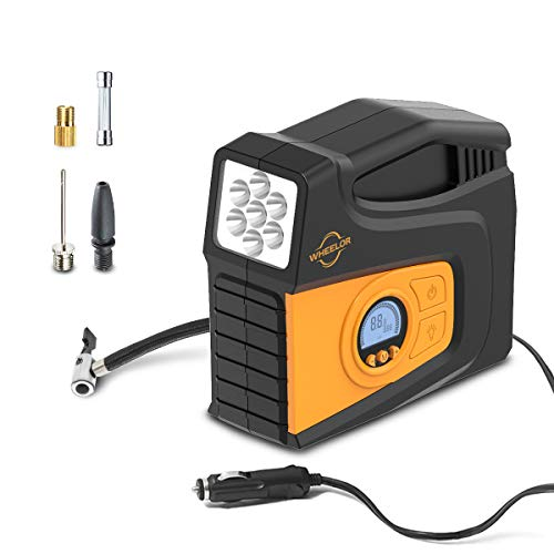 Wheelor TILD1602-SK Tire Inflator Portable Air Compressor Digital Auto Pump for Car Bicycle Motorcycle Basketball & Other Inflatables, 100PSI 12V DC 120W, 2021 Upgrade, Yellow with LED Light, Orange