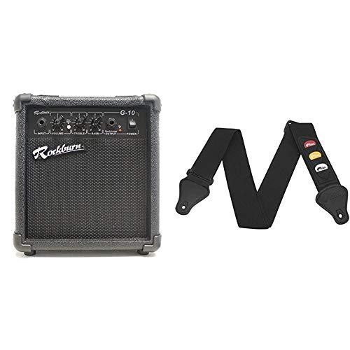 Rockburn BC-10S-BK amp 10 Watt Guitar Amplifier with Headphone Output & Tiger Guitar Strap with Plectrum Holders - Black