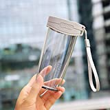 GanFan 350ml Auslaufsicher Kurze Transparente Plastikwasserflasche Mit Griffschlaufe for Outdoor, Heim Und Büro Mit (Rosa) (Color : Grey)