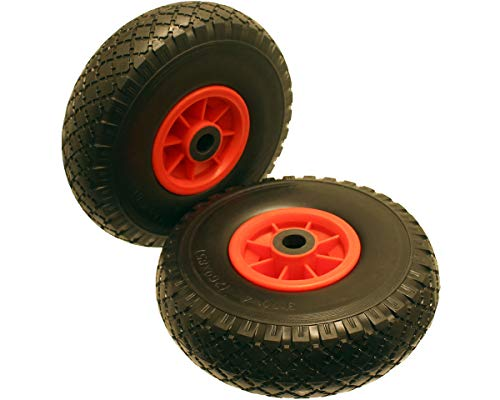 A Pair of 10 inch Puncture Proof PU Foam Filled Wheels Size 3.00-4 300-4 300x4 Needle Roller Bearing To Suit A 20mm Axle Shaft. Suitable For Trolleys, Sack Barrows, Jockey Wheels Carts And Wagons.