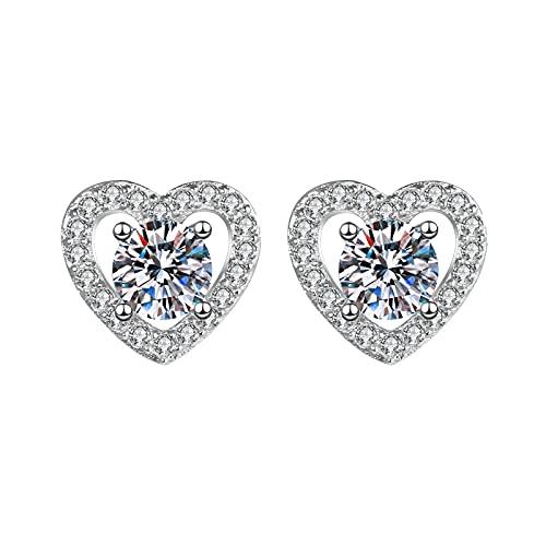 1 Pair Heart Silver Women Men Stud Earrings Earrings for Girls Fashion Jewelry Cubic Zirconia Halo Earrings
