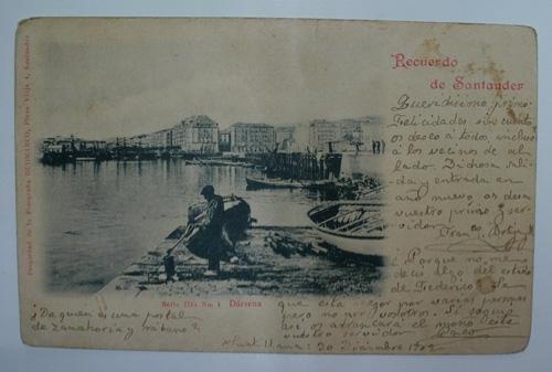 Antigua postal. Old post card. Recuerdo de Santander. Serie III. Nº 1....