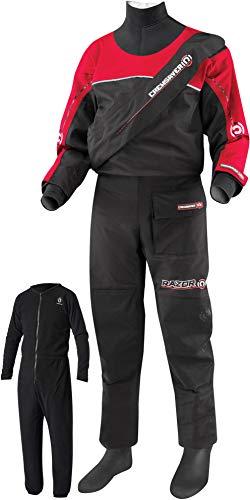 Crewsaver Razor Kids Junior Drysuit Schwarz/Rot mit kostenlosem Unterfleece - Unisex Perfekt für alle Wassersportarten - Für Kinder