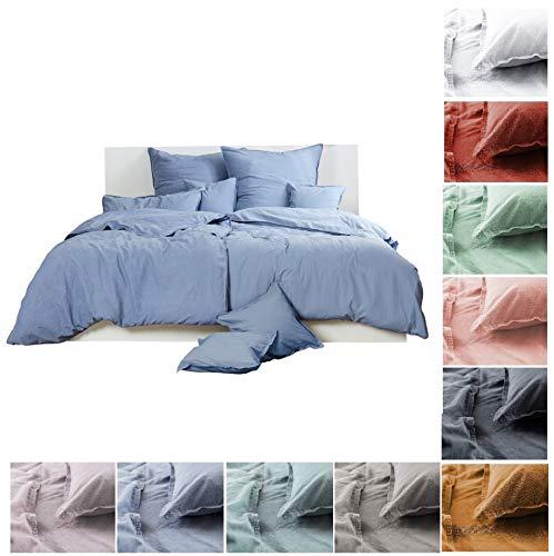 Bettwäsche Renforce Stone-Washed 135x200 & 80x80 cm 100% Baumwolle - blau grau OekoTex weich modern Used-Look Leinen-Optik