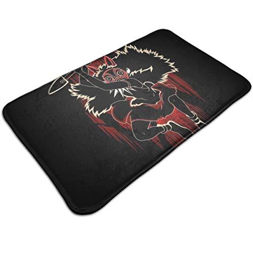 HUTTGIGH Fußmatte, Motiv: Schatten der Maske, Prinzessin Mononoke, rutschfest, 49 x 80 cm, saugfähig