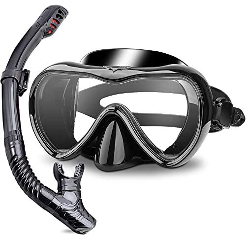 Trocken Schnorchelset, Panorama-Weite Sichtfeld, Gehärtete Wasserdichte Gläser Schnorchelbrille Tauchset für Erwachsene und Kinder