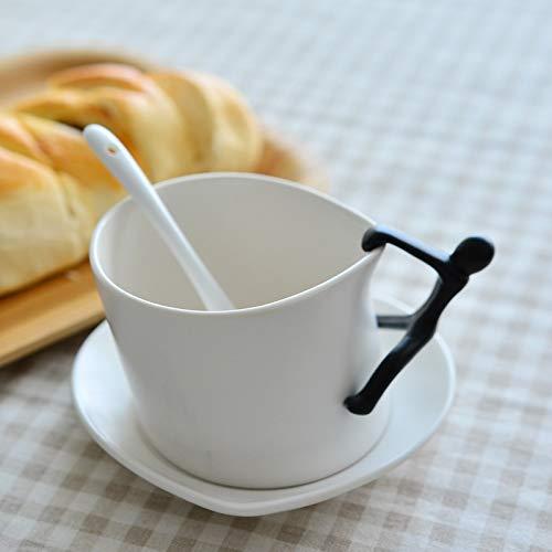 Hosoncovy Juego de 3 tazas de café y posavasos de cerámica creativos con cuchara escalador, taza de té y posavasos Set de taza y platillo, taza de escalada para regalo de oficina en casa (blanco)