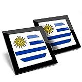 Impresionante juego de 2 posavasos de cristal con diseño de la bandera de los Estados Unidos Montevideo Uruguay brillante calidad posavasos/protección de mesa para cualquier tipo de mesa #9164
