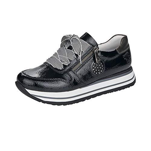 Rieker Damen Low-Top Sneaker N3512, Frauen Halbschuhe,lose Einlage,Freizeitschuhe,Plateausohle,Ladies,Women's,schnürschuhe,schwarz (00),39 EU / 6 EU